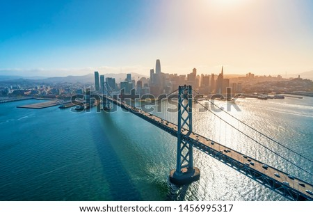 Aerial view of the Bay Bridge in San Francisco, CA #1456995317
