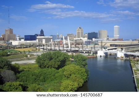 Milwaukee skyline with Menomonee River in foreground, WI