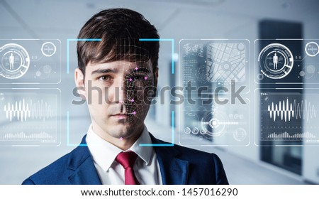Authenitication by facial recognition concept. Biometrics. Security system. #1457016290