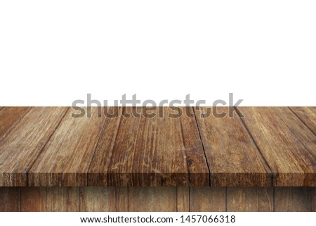 Empty wood table on isolate white background and display montage with copy space for product. #1457066318