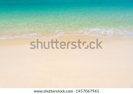 Fantastic golden sand beach with clear blue water. Summer outdoor nature holiday serenity. Beautiful clean sandy beach with soft blue ocean wave. Background, copy space or space for text. #1457067965