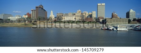 Mississippi River with Memphis, TN skyline