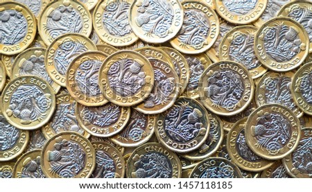 Lots of pound sterling coins close up #1457118185