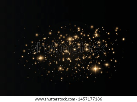 The dust sparks and golden stars shine with special light. Vector sparkles on a transparent background. Christmas light effect. Sparkling magical dust particles. #1457177186