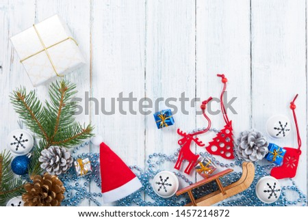 Christmas decoration frame background on old white wood table #1457214872