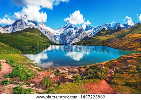 Scenic view on Bernese range above Bachalpsee lake. Popular tourist attraction. Location place Swiss alps, Grindelwald valley, Europe.  #1457223869