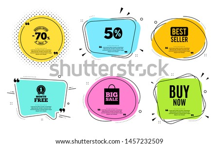 Buy Now. Best seller, quote text. Special offer price sign. Advertising Discounts symbol. Quotation bubble. Banner badge, texting quote boxes. Buy now text. Coupon offer. Vector #1457232509