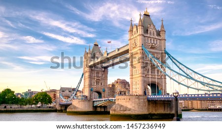 Iconic Tower Bridge connecting Londong with Southwark on the Thames River Royalty-Free Stock Photo #1457236949