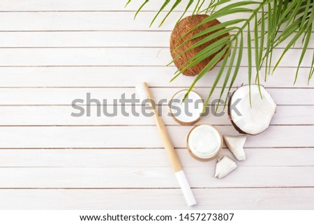 Coconut oil and mint homemade toothpaste, eco friendly bamboo toothbrush, natural healthcare. #1457273807
