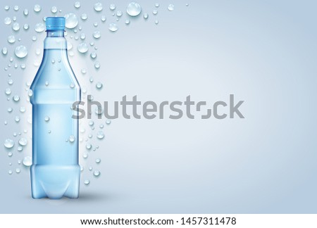 Blue background with many water drops and water splash, bottle. #1457311478