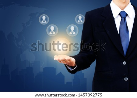 Concept idea business man holding human resource management icon. Selection concept. #1457392775