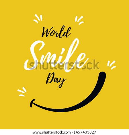 World Smile Day. International Day of Happiness.  Lettering in boho style for print and posters. Vector Template Design Illustration. Royalty-Free Stock Photo #1457433827