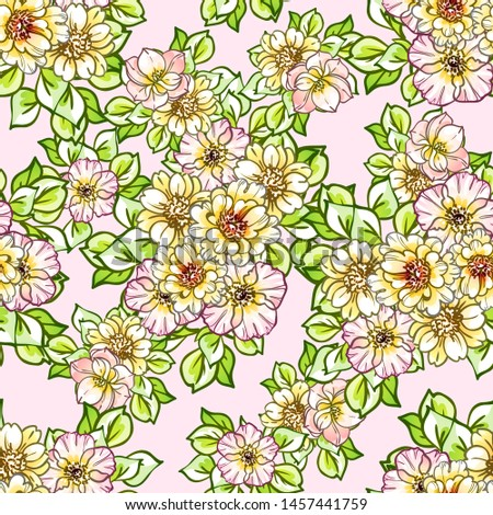 Abstract elegance seamless pattern with floral background #1457441759