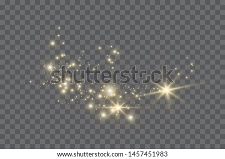 The dust sparks and golden stars shine with special light. Vector sparkles on a transparent background. Christmas light effect. Sparkling magical dust particles.  #1457451983