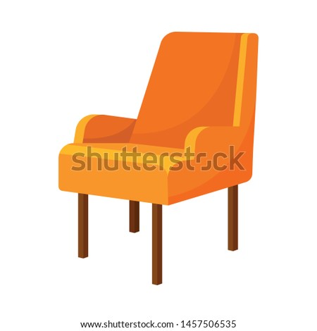 Orange armchair with low railings. Vector illustration on white background. #1457506535