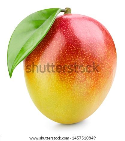 Mango fruit with leaf isolated on white background. Mango Clipping Path. Professional studio photo #1457510849