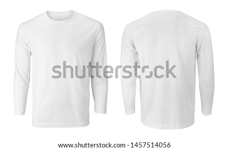 Long sleeve white t-shirt with front and back views isolated on white  Royalty-Free Stock Photo #1457514056