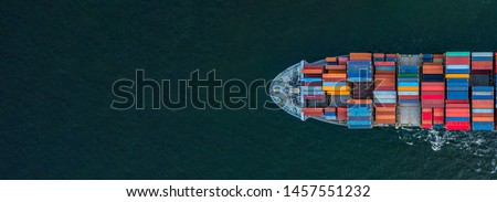 Container ship carrying container for import and export, business logistic and transportation by container ship in open sea, Aerial view container ship with copy space for design banner web #1457551232
