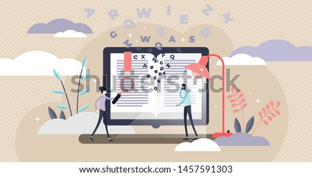 Dictionary vector illustration. Flat tiny translation book persons concept. Abstract literature reading with flying letters study. Language knowledge encyclopedia and academic vocabulary with bookmark Royalty-Free Stock Photo #1457591303