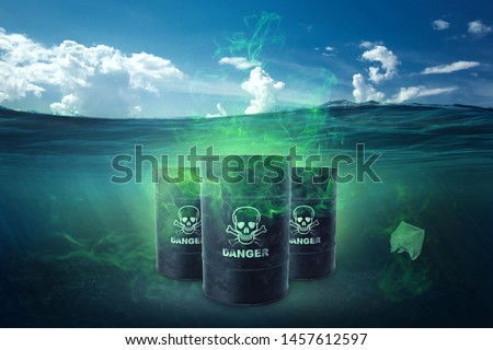 Ocean pollution by toxic waste. Biological waste. The concept of chemical waste, pollution of nature, toxins. Royalty-Free Stock Photo #1457612597