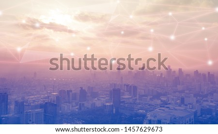 Networking connect technology abstract concept. Polygonal with connecting dots with blur city business background. #1457629673