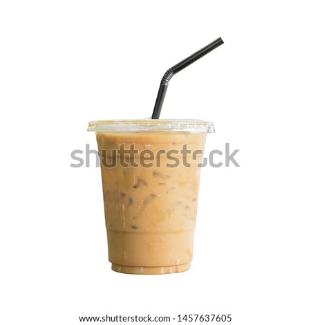 Iced or frappe coffee cup on glass cup isolated  white background #1457637605
