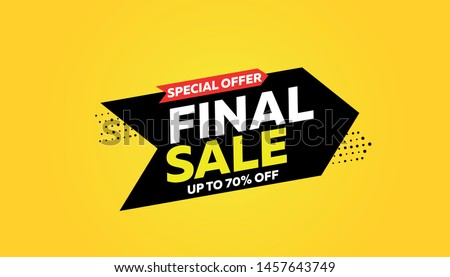Final sale banner, special offer up to 70% off. Vector illustration. #1457643749