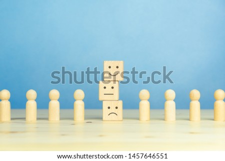 Wooden blocks with the happy face smile face symbol symbol on the table, evaluation, Increase rating, Customer experience, satisfaction and best excellent services rating concept with copy space #1457646551