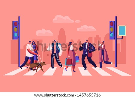 Pedestrians People Walking on City Street. Men and Women Characters Hurry at Work on Urban Background with Traffic Lights and Crosswalk Moving by Road, Lifestyle, Cartoon Flat Vector Illustration Royalty-Free Stock Photo #1457655716