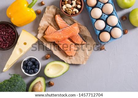 Keto diet ingredient . Healthy background . Ketogenic protein food . #1457712704