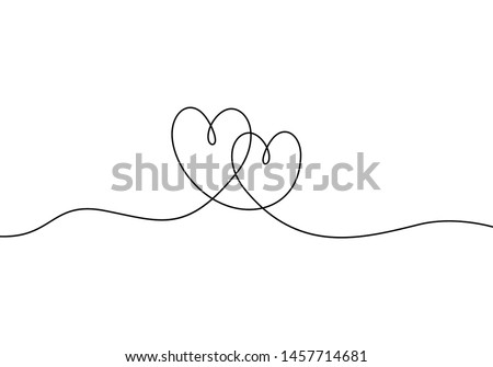 Continuous line drawing of love sign with two hearts embrace minimalism design on white background Royalty-Free Stock Photo #1457714681