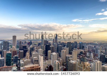 Aerial View of the Chicago skyline. #1457726093