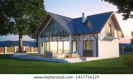 House with garden in the evening, 3D illustration #1457756129