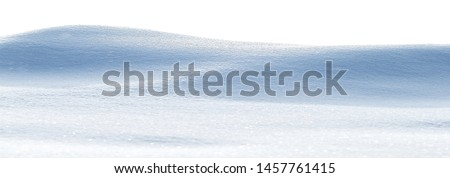 Snowy white clean snow texture. Snowdrift isolated on white background. Wide format. #1457761415