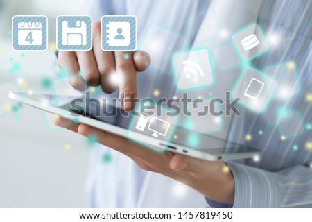 bright picture of woman with smartphone #1457819450