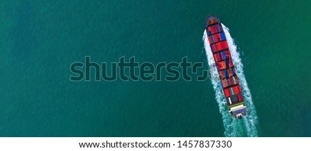 Container ship carrying container for import and export, business logistic and distribution transportation by container ship boat freighter, Aerial view container ship, copy space design banner web. #1457837330