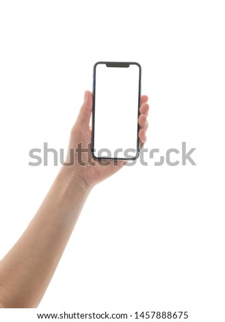 close up hand hold phone isolated on white, mock-up smartphone white color blank screen #1457888675