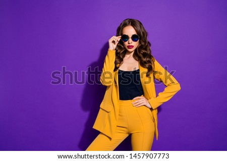 Photo of chic great businesswoman having made up her mind to found her own mega corporation while isolated with purple background #1457907773