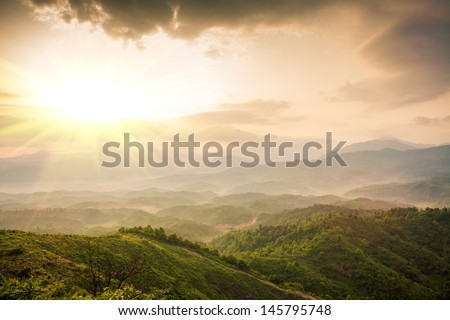 mountains under mist in the morning in Zixi county, Fuzhou city,Jiangxi Province,China #145795748