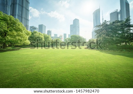 Green Space, Lujiazui Central, Shanghai, China Royalty-Free Stock Photo #1457982470