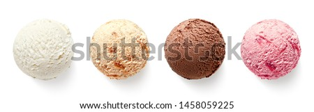 Set of four various ice cream balls or scoops isolated on white background. Top view. Vanilla, strawberry, chocolate and caramel flavor Royalty-Free Stock Photo #1458059225