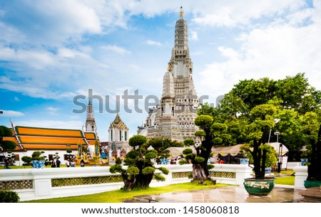 Bangkok,Thailand - July,15,2019 :Pagoda at Wat Arun temple, One of the famous temple in Thailand , This temple has many foreign visitors visiting each day, Bangkok , Thailand. #1458060818