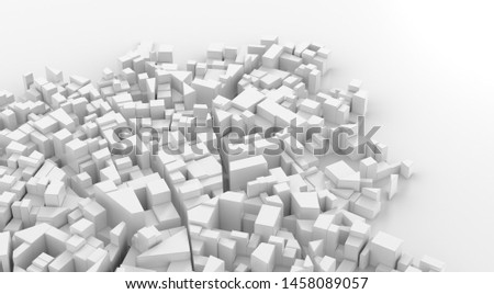 Abstract white city center. Cityscape background. 3d rendering. #1458089057