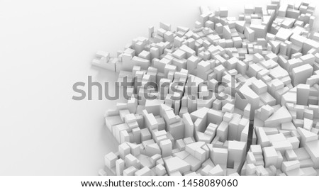 Abstract white city center. Cityscape background. 3d rendering. #1458089060