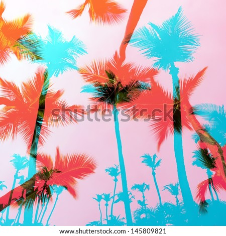 Tropical coconut palm tree silhouettes montage over a tropical sky.