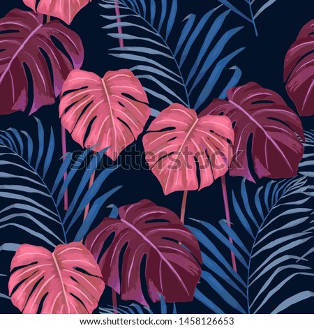 Jungle exotic seamless pattern, green tropical leaves, summer vector illustration. Watercolor style #1458126653