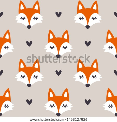 Vector seamless pattern with fox faces. Hand drawn repeated texture with forest animals and hearts. Background with cartoon animals. Scandinavian design. Simple ornament for kids fabric and clothes.