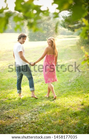 Young romantic couple in love in the nature #1458177035