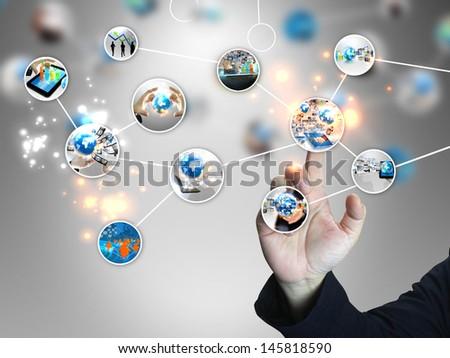 businessman press business world