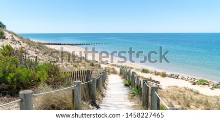landscape from Atlantic coast from Noirmoutier French island in web banner template  Royalty-Free Stock Photo #1458227465